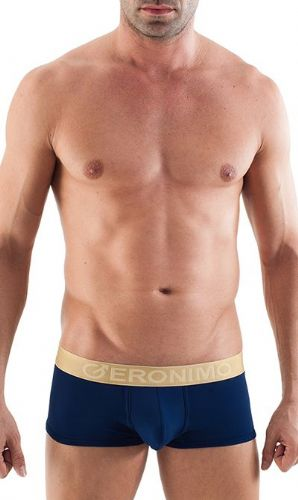 Geronimo Mens Underwear Low Rise Boxer Navy Blue / Gold Waistband  Hipster 1356b1